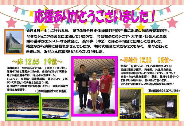全日本種目別選手権結果6月4日